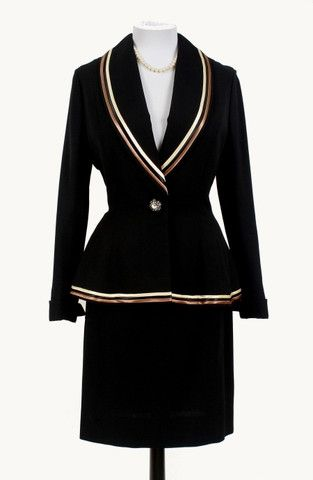 1940 | Black Peplum Skirt Suit Trimmed with Copper and Gold Satin Ribbon by Lilli Ann