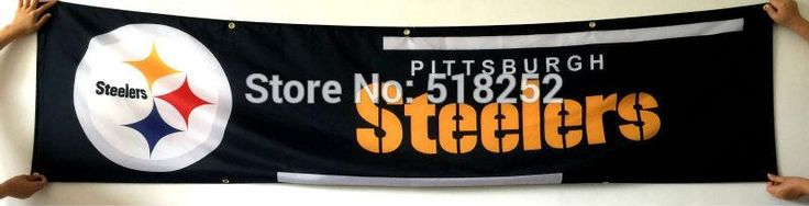 Pittsburgh Steelers Banner 2x8FT 60x240CM NFL Flag 100D Polyester grommets Custom6038,free shipping