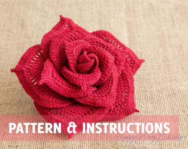 Crochet Rose Pattern and Instructions - Crochet Flower Pattern - Crochet Pattern - Large Rose Pattern - INSTANT DOWNLOAD - P072
