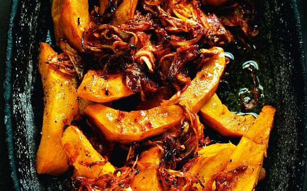 Baked pumpkin recipe with onions and spices, from Rick Stein's new book.