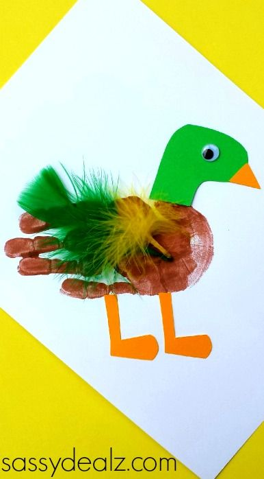 Mallard Duck Handprint Craft for kids DIY Feathers