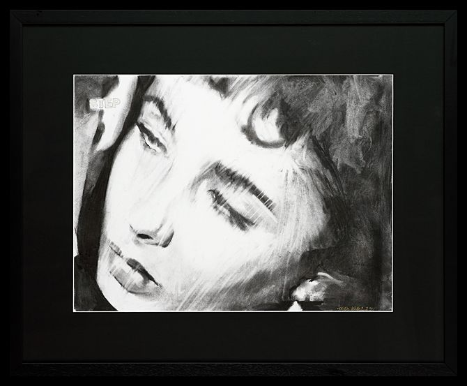 Liz Taylor III | Charcoal on Paper  64 x 79 cm (framed) | The second of four drawings of Liz Taylor, each a frame apart. Trish has captured Taylor's beautiful vulnerability in these images. The works are available and can be purchased as a set or individually.