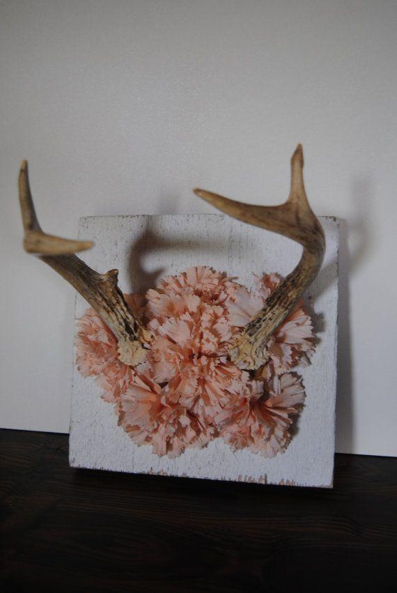 Deer Mount Wall Decor : Deer antlers pink flowers taxidermy wall hanging home