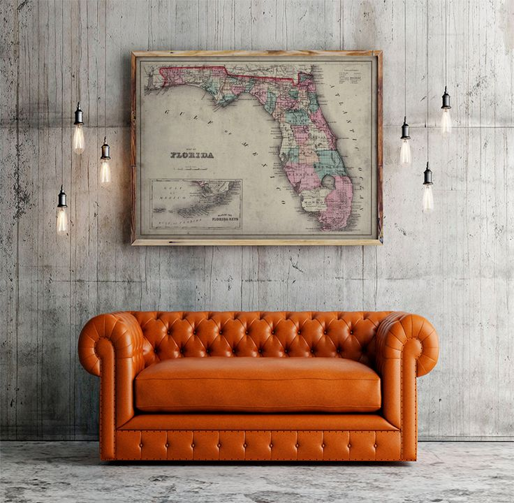 Florida Map : Old Map of Florida and The Keys - c. 1800's