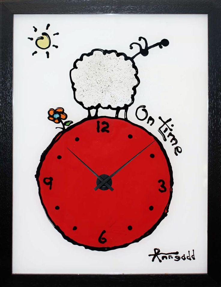 """On Time"" clock by Ann Gadd."