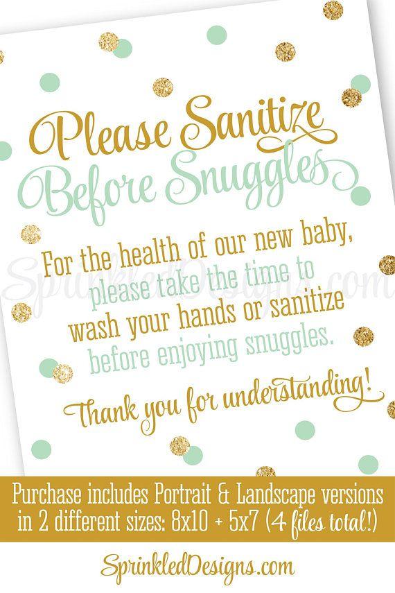 Hand Sanitizer Sign Wash Your Hands Sanitize Before Snuggles