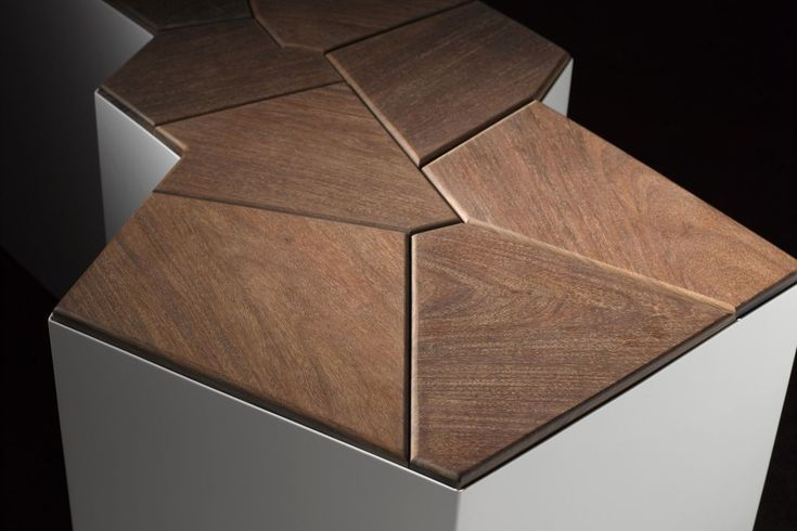 Modern Wooden Public Space Fault Line Bench Design