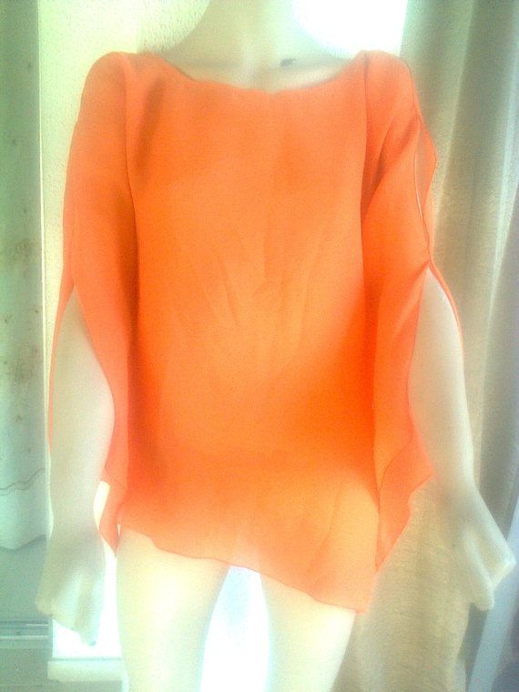 Late 80s vintage orange tunic L/XL pure orange blouse by Lionsoul, €30.00 in new lower price