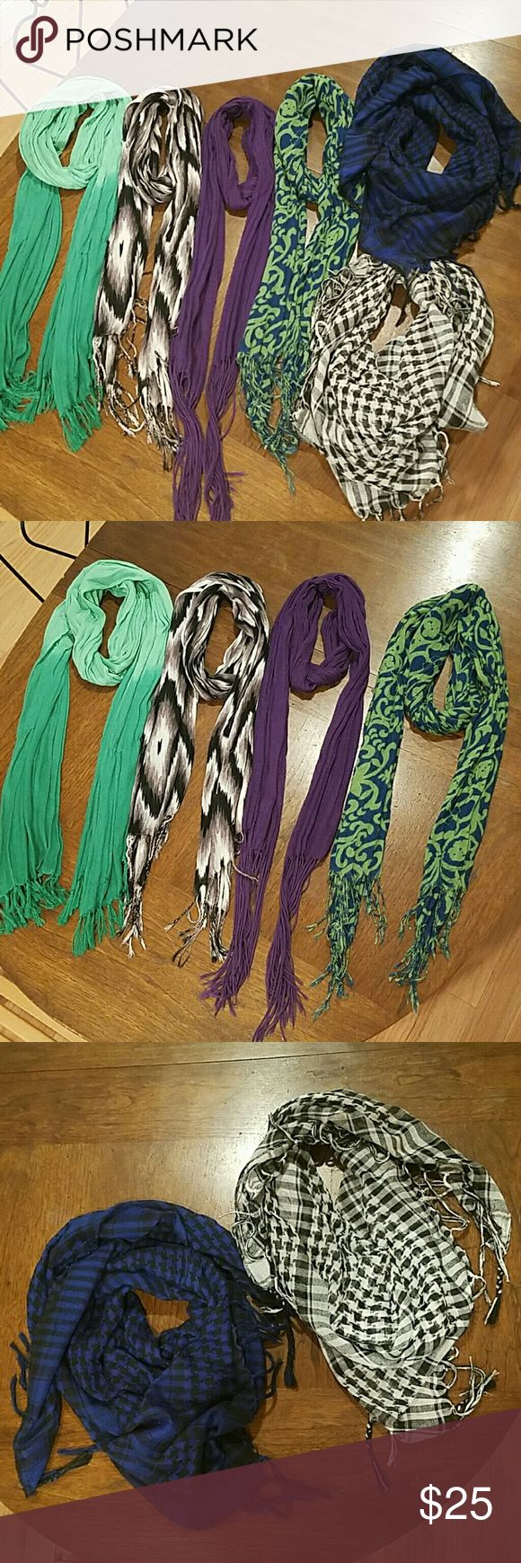 6 fashion scarves and IKEA KOMPLEMENT scarf holder Assortment of 6 fashion scarves and beige IKEA KOMPLEMENT scarf holder. Open to offers :) Accessories Scarves & Wraps