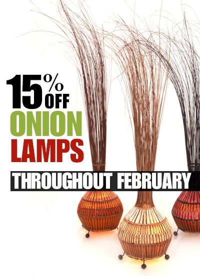 Grass onion table lamps made in Bali using natural rattan at www.fairtradelighting.co.uk