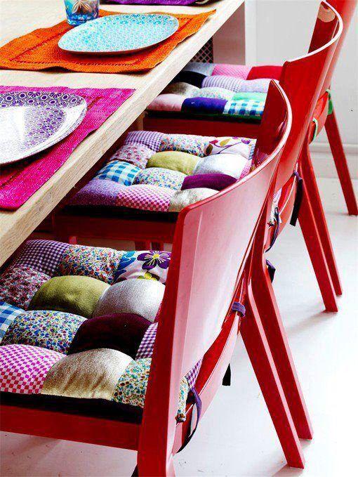 Ideia para aproveitar Retalhos de Tecido ... Assento Patchwork ! Rejuvenesce qualquer Cadeira ou Banquinho !