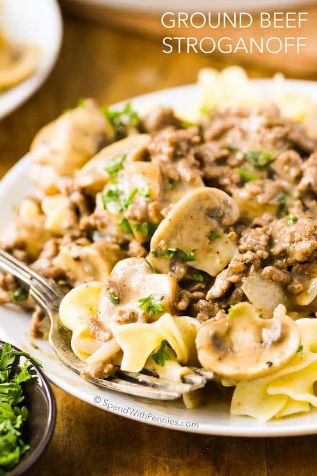 This easy Ground Beef Stroganoff uses lean hamburger and tender mushrooms cooked in a rich silky sauce. It's quick and delicious, making it the perfect weeknight meal!