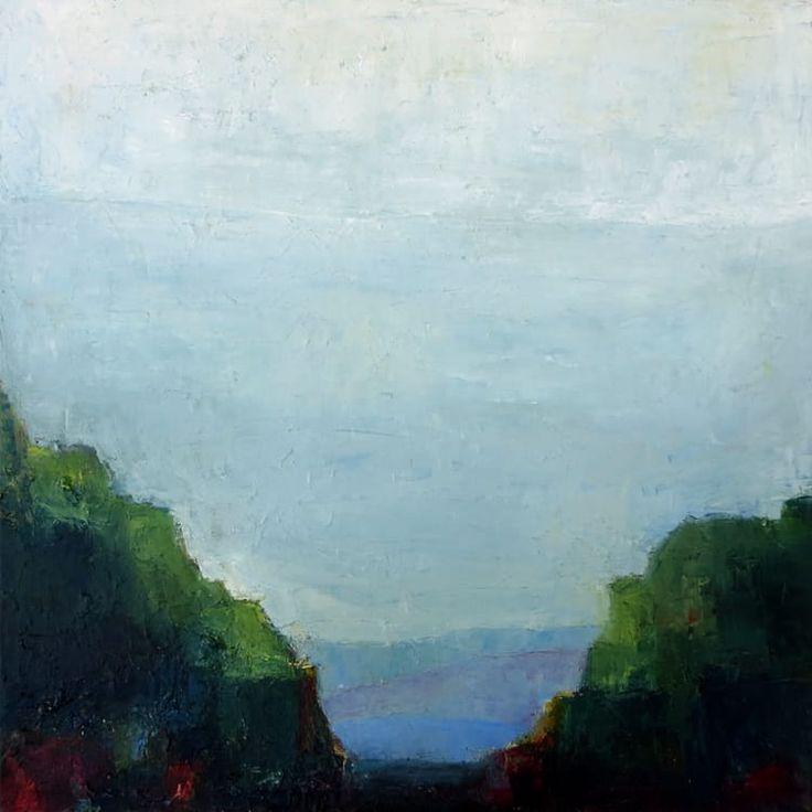 Confluence is a landscape painting. The artist is Bridgette Guerzon Mills.