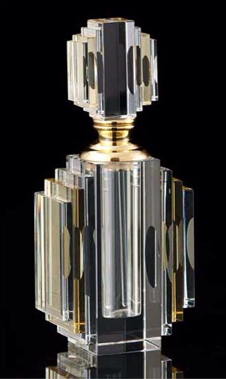 Cut Crystal Art Deco Perfume Bottle TOTALLY AWESOME!! - LOVE THE FABULOUS STYLE OF THIS EXQUISITE BOTTLE!! - INCREDIBLE!! ⚪️