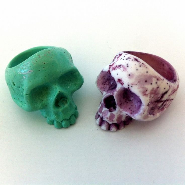 """Skull ring  The ideal compliment to the skull bangle. Available as opaque, pearlised, translucent or """"colour rubbed"""" to accentuate the features. Note: If """"colour rubbed"""" you need to specify two colours. The darker colour will always be the rubbed colour. Size O only - 17.3 mm diam  AUD $25.00 each (free postage within Australia)"""
