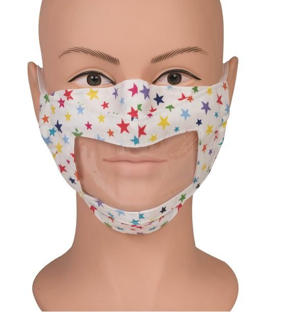 CLEAR transparent See Through Adult Teen Child face mask covering deaf lip read