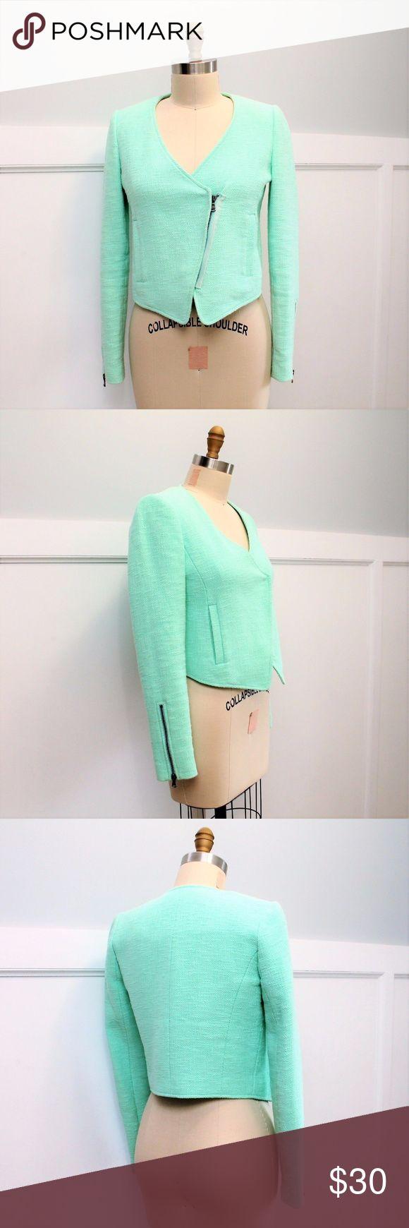 Selling this Tibi Mint Green Moto Jacket on Poshmark! My username is: danapaul. #shopmycloset #poshmark #fashion #shopping #style #forsale #Tibi #Jackets & Blazers