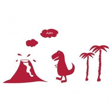 Cadeau malin: Stickers personnalisés T-Rex et volcan
