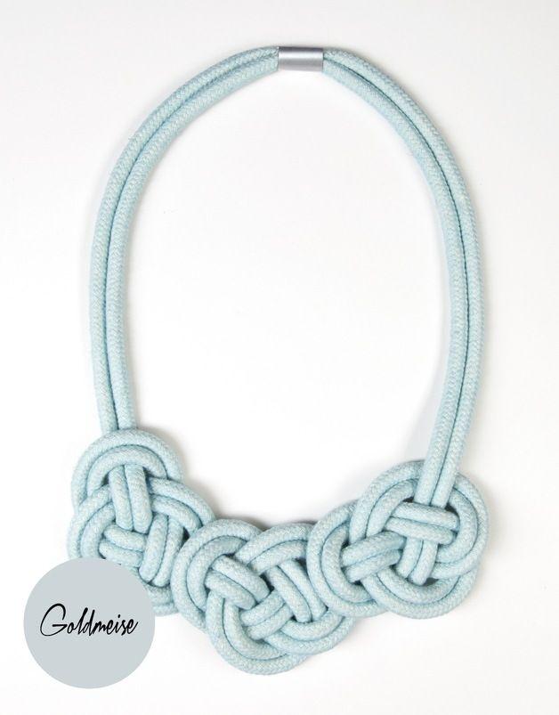 Statement Ketten mit Knoten aus handgefärbtem Seil / knotted and dyed statement necklace by Goldmeise via DaWanda.com
