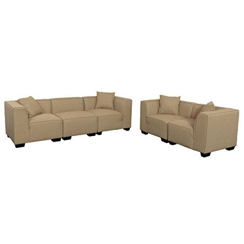 CorLiving LZY-868-Z9 Lida 5pc Beige Fabric Sectional Sofa and Loveseat Set