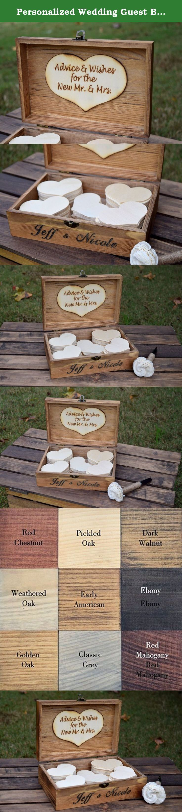 Personalized Wedding Guest Book Alternative - Wedding Advice Box - Rustic Wedding Guest Book - Guest Book for Wedding - Advice for Bride and Groom. Love this adorable advice box with wooden hearts! Perfect for weddings, bridal showers, baby showers, anniversaries, graduations and more! Personalization is totally customizable! The engraving can be done with whatever verbiage you would like! It includes engraving on the front of the box as well as the attached engraved wooden heart on the...