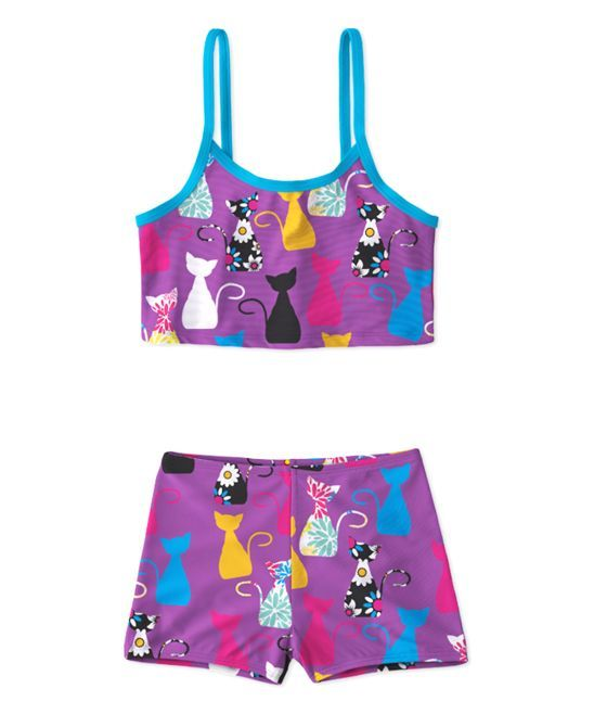 Purple Cat Bikini - Toddler & Girls