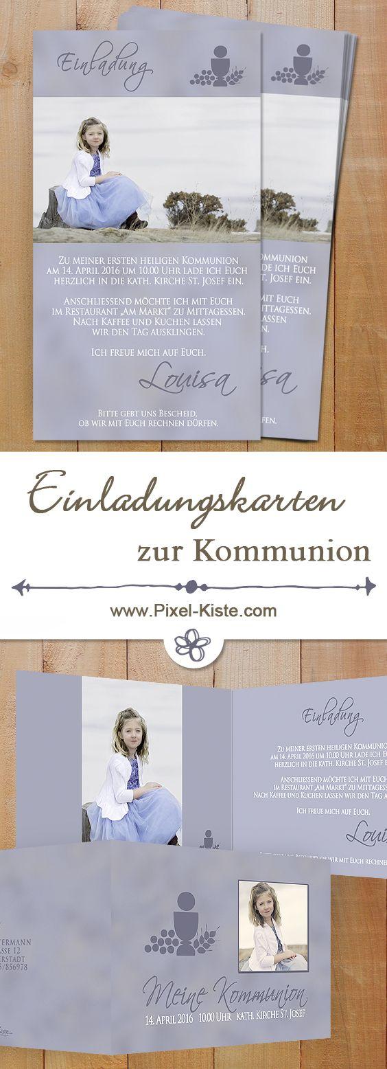 Einladungen zur Kommunion als Post- oder Faltkarte gedruckt oder auf Fotopapier belichtet. Gestaltung mit Ihren Fotos und Texten. #Kommunion #Konfirmation #Einladungen #Erstkommunion