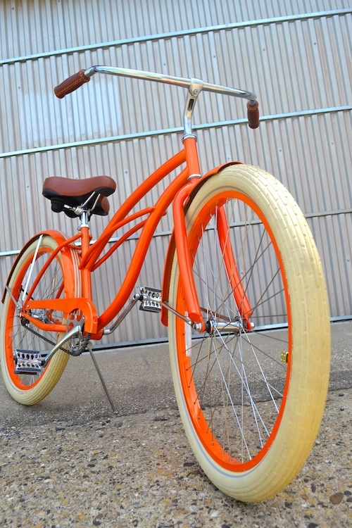 The Creamsycle - custom beach cruiser from VillyCustoms.com, custom dice tire caps, custom seat covers and colors galor