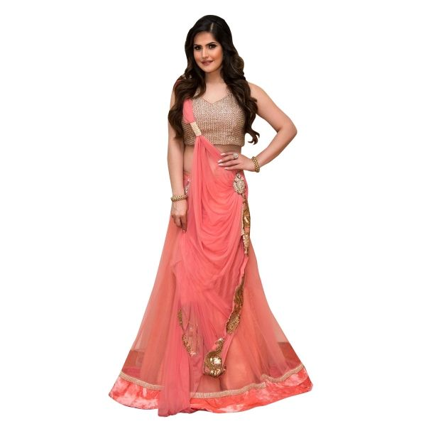 Buy Stylish Peach Colour Georgette Embroidered Lehenga Choli Online at cheap prices from Shopkio.com: India`s best online shoping site