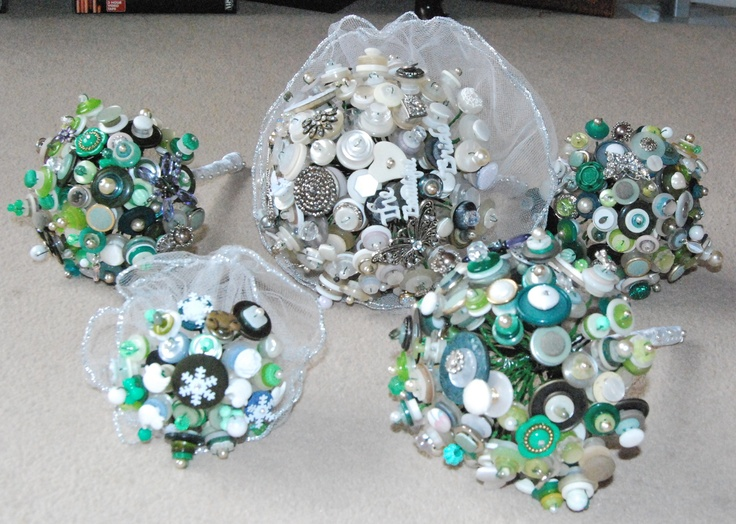 Green bridal and bridesmaid bouquets made from new and vintage buttons, beads and jewellery