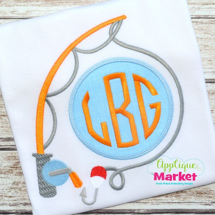 Applique Market has a wonderful selection for all of your custom design needs. Fun activities are the perfect time for customized clothing with our Fishing Monogram applique design.