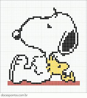 Snoopy perler bead pattern- Doces Pontos Bokstøtte