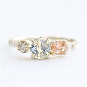 Bicolor Sapphire, Champagne diamond, and Orange sapphire stone cluster engagement ring | Mociun Custom