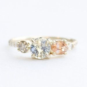 Bicolor Sapphire, Champagne diamond, and Orange sapphire stone cluster engagement ring | Mociun Custom