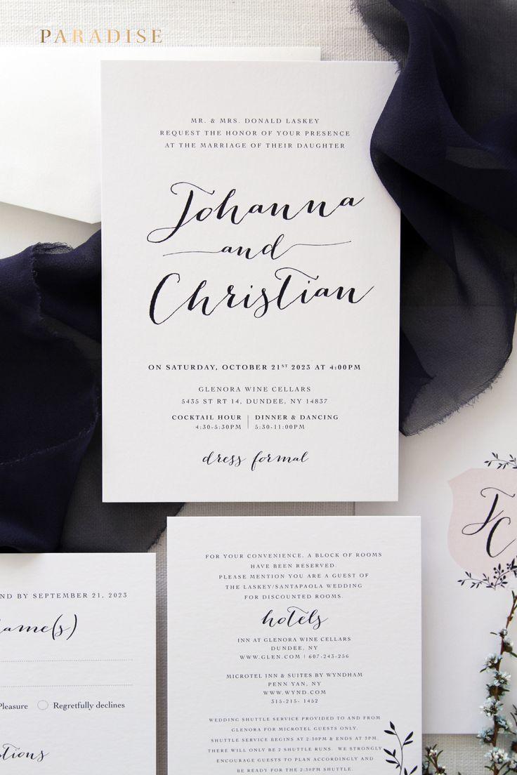 Lea Crest Wedding Invitation Set Elegant Monogram Invitations Template Or Printed