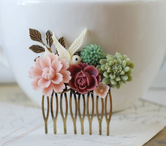 pink and green hair comb