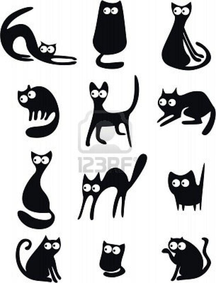 Varias siluetas de gatos.