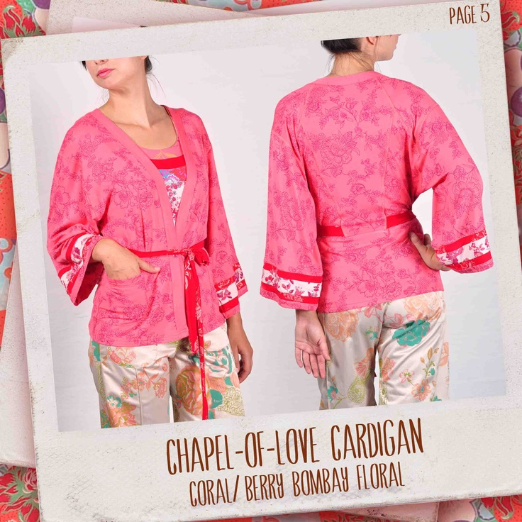 Chapel-of-Love cardigan in Coral/ berry Bombay Floral