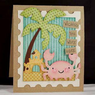 So cute!!! Create a Critter Cricut cartridge, beach card by Melyssa Connolly