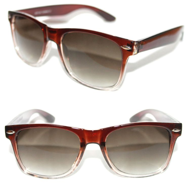 Men's Women's Wayfarer Nerd Sunglasses Brown clear Frame Square Retro Vintage  #Stars