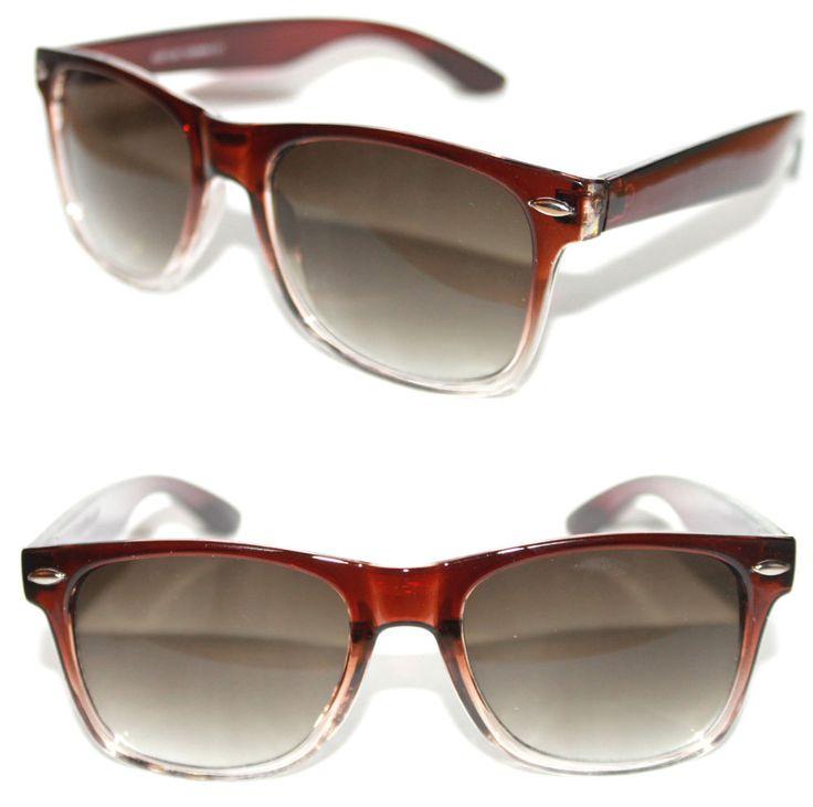 Men's Women's Wayfarer Nerd Sunglasses Brown clear Frame Square Retro Vintage  #Stars