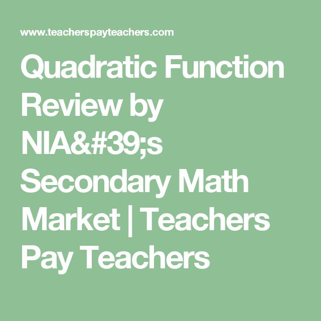 Quadratic Function Review by NIA's Secondary Math Market | Teachers Pay Teachers