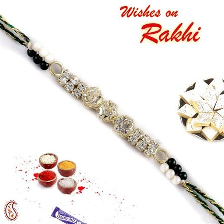 Exclusive Handmade white stones Jewelled Rakhi with Beads ORWRJ14267