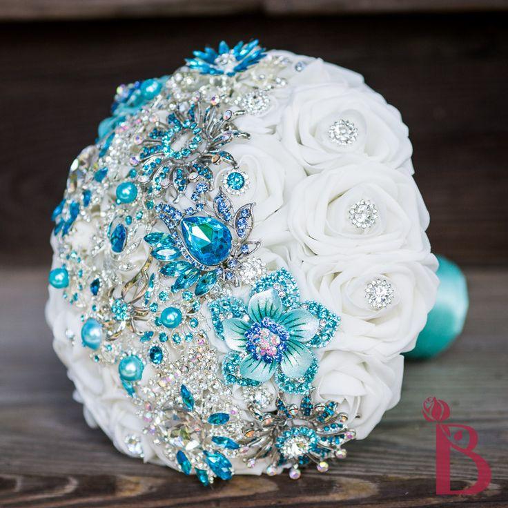 Aqua brooch bouquet strip MD (more colors) | The Bridal Flower