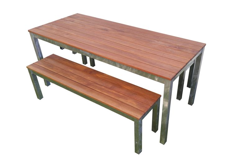 Galvanised Keruing Timber Table setting Outdoor Furniture Melbourne