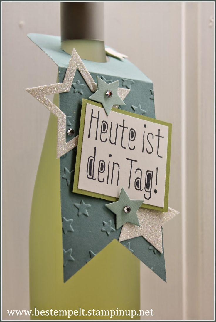 www.bestempelt.de: Schnelle Flaschenanhänger in Lagunenblau
