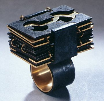 Dieter Roth - Folding ring Reykjavík / Luzern · 1971 · gold, iron, steel · ring with clasped folding metal plates · edition of 5 · made by Langenbacher & Wankmiller, Luzern #jewelry #art