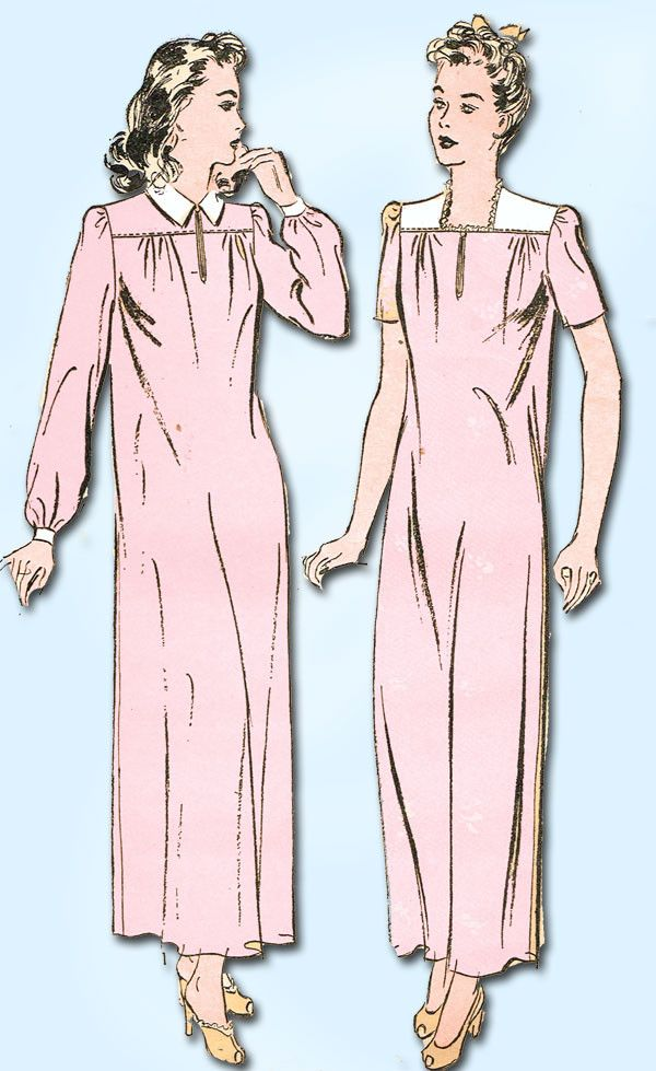 1940s Vintage Misses WWII Nightgown 1943 Advance Sewing Pattern 3232 Size 18