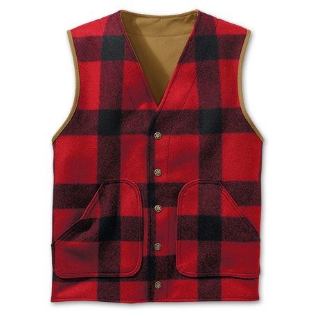 www.Filson.com | Filson Antique Tin Cloth Reversible Cruiser Vest - A vest combining our tough Antique Tin Cloth and warm Mackinaw Wool