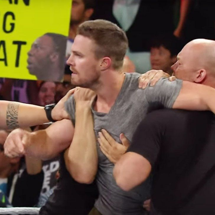 Pin for Later: Arrow's Stephen Amell Hopped in the Ring on WWE Raw and Here's What Happened